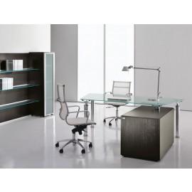 Studio 06 Chef-Glas-Schreibtisch, Glasregal mit Wenge