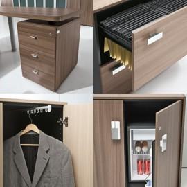 Studio 18 Details Schrank-Hängeregister, auziehbare Kleiderstange, Sideboard mit Minikühlschrank, Minibar