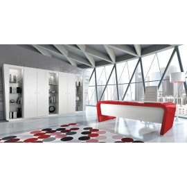 Vanity 02 Designer Schreibtisch modern, exklusiv Hochglanz zweifarbig lackiert rot weiß, Schrankwand mit LED Beleuchtung, Chefschreibtisch individuell lackierbar nach Kundenwunsch