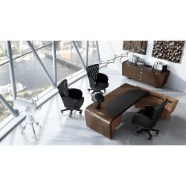 Vanity  03 Design Schreibtisch, modern Hochglanz lackiert, Winkel Chefschreibtisch mit Lederauflage und Anbau Container in Nuss, Office Sideboard individuell anpassbar auf Kundenwunsch