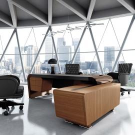 Vanity  04  Design Büromöbel Eckschreibtisch modern Hochglanz lackiert, Tischplatte teilgeldert, Winkel Chefschreibtisch mit Servicecontainer in Nuss