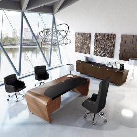 Vanity  05  Design Schreibtische, modern konisch gerundete Seitenwangen in Echtholzfurnier Nussbaum mit Lederauflage eingearbeitet,  Chefschreibtisch mit Schubladencontainer, Hochglanz Sideboard