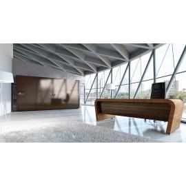 Vanity  06  Design Büro-Schreibtisch, modern gerundete Schreibtischwangen, Echtholzfurnier Nuss, Leder Inlay, Chefschreibtisch mit Schubladencontainer in Hochglanz, Ordnerschrank