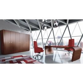 Vanity  07  Design Chefschreibtisch, modern mit konisch gerundeten Wangen in Echtholzfurnier Ebenholz, Schreibtisch mit Ledereinlage, Ordnerschrank, Büroschrank in selben Design
