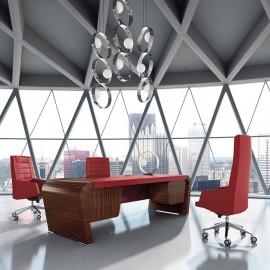 Vanity  08  exklusiver Chefschreibtisch modisches Designstück mit runden Schreibtischwangen, Holzfurnier in Ebenholz, Ledereinlage rot, Hängeschubladen, elegante Ästhetik
