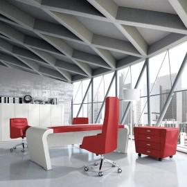 Vanity  09  exklusiver Chefschreibtisch, Designer Büromöbel, runde Tischwangen, Hochglanz lackiert mit Ledereinlage rot, Sichtschutzpaneel und elegantem Designrollcontainer