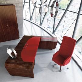 Vanity  10  kunstvoll designed Büromöbel, Chefschreibtisch in Ebenholz mit Echtledereinlage rot, eleganter Eckanbau Container mit Design Lederstreifen