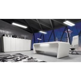 Vanity  12  Trendbüro, Designmöbel Chef-Schreibtisch ganz in Hochglanz weiß, eleganter Schreibtisch mit Beleuchtung, das Highboard im passenden Design