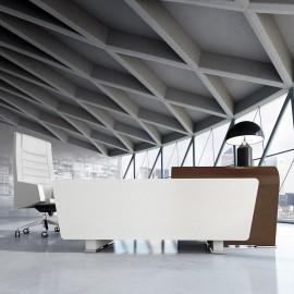 Vanity  20  Chefschreibtisch, modern elegante Formen, Eckcontainer in Hochglanz weiß, ästhetische Tischanbau Lösung