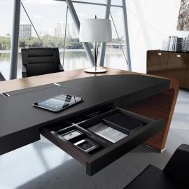 Vanity  22  Design Chef-Schreibtisch mit integrierter Stifte-Schublade geledert, verschwindet elegant dezent in der 9,5cm starkenTischplatte