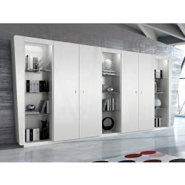 Vanity  23  Design Chefzimmer Schrankwand, stylisch in Hochglanz weiß, Glasböden im offenen Regal mit Beleuchtung