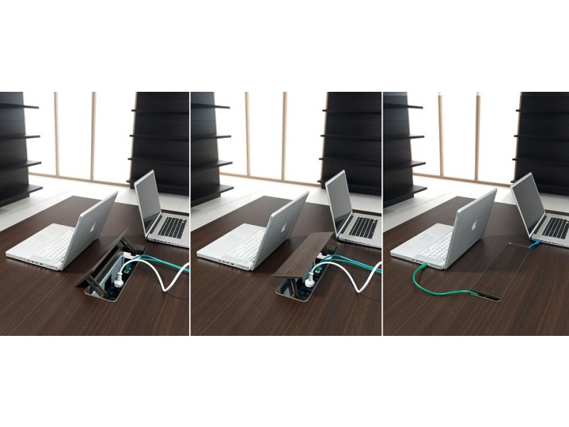 Schreibtisch modern polarisierendes design lithos for Design tisch steckdosenleiste