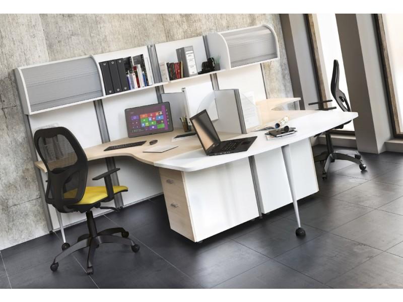 ... Schreibtisch In Holzfarbe Wenge · OXI 10 Kompakter Teamschreibtisch Mit  Stauraum Möglichkeiten, Container Und Rollladenschrank ...