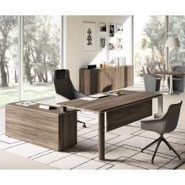 01 anspruchsvoller Schreibtisch für individuelles Chefbüro mit Winkelanbau Sideboard in Edelstahl und Samoa Teakholz Optik - IULIO
