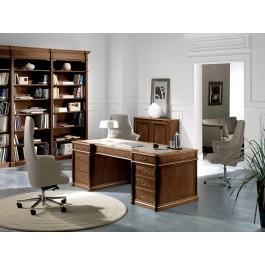 art&moble  01  klassik Chefschreibtisch in Nussbaum und Oliven Wurzelholz, traditionell gefertigt