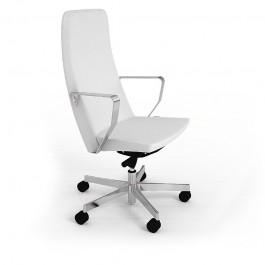 C1 01 Chefsessel, Design Bürosessel in Leder mit Metallarmlehnen in Chrom