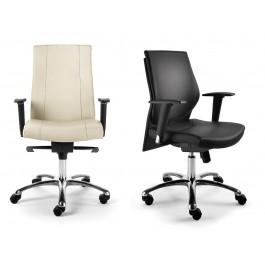 d-4 04 Chef-Bürostuhl, Bürodrehstuhl mit Holzrücken oder Leder