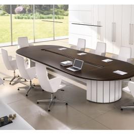Format 02 exklusiv Konferenztisch mit abgerundeten Kanten, Büro-Meetingtisch in Wenge und weiß, massives Design