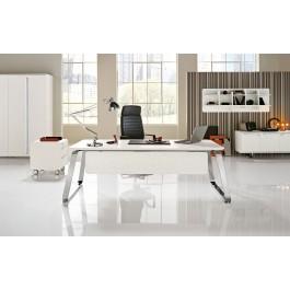 SEVENTIES 01Retro-Design Chef-Schreibtisch, Chrom in Matrix-weiss