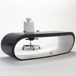 Goggle Desk Design Schreibtisch außen Hochglanz  und innen matt  lackiert mit Kabelöffnung