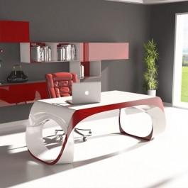 Infinity Design Schreibtisch bicolor lackiert mit Kabelöffnung