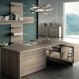 Lithos Schreibtisch mit Servicecontainer Dekorfarbe wählbar