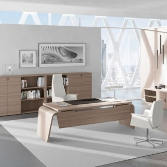 Larus Schreibtisch mit Beinsichtschutz Dekorfarbe wählbar