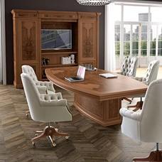 exklusiv klassischer Konferenztisch, Meetingtisch traditionell mit Wurzelholz-Olive, elegantes Design