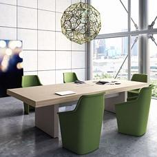 modern stilvoller Konferenztisch - JERA, Chefzimmer mit passenden Konferenzstühlen, imposanter Meeting Tisch, Holzfarbe Ulme grau