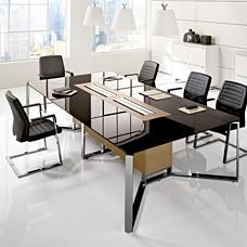 I-MEET Chefzimmer Konferenztisch, Glastisch mit Kabelmanagement, individuell anpassbar