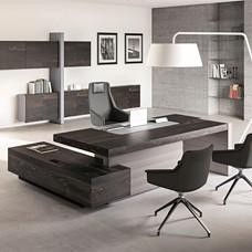JERA - elegant stilvoller Designer Schreibtisch in Esche braun, Tischgestell Leder geplostert