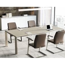 IULIO  modern und eleganter Konferenztisch, exklusiver Designer Besprechungstisch in Ulme/grau mit Kabelauslass von ukamo.de