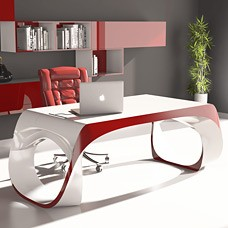 Infinity - exklusiver Design Chef Schreibtisch, mit bicolor Hochglanz Lack, aus innovativen Material Adamantx® gefertigt, Designbüro Möbel