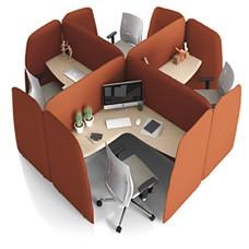 L1 Smart Office, Akustik Arbeitsplatz, Schreibtisch mit Schallschutz und Sichtschutz Eigenschaften, kompakt