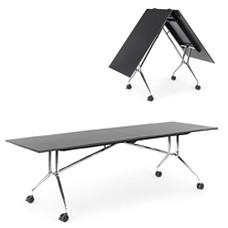 PIEGO -  faltbarer, mobiler Konferenztisch für multifunktional genutzte Räume, Meeting-Klapptisch mit flexiblen Standort, Rollen mit Feststellbremse - ukamo.de