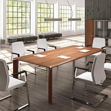Fill Evo exklusiver Konferenztisch für  Konferenz- und Tagungsraum, Meetingtisch in Nussbaum, Chrom