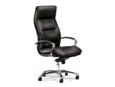 c-5 Chefdrehstuhl in Leder, komfortabler Chefsessel-ergonomisch, schwarz