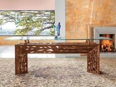 DELTA Table Designer Tisch, handgefertigtes Tischgestell aus massiven Nussbaum Holz mit einer Glas-Tischplatte,  sehr exklusiv