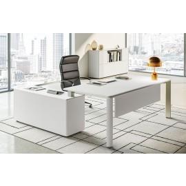 IULIO - 01_02 Designer Winkeltisch in modernem weiß, stilvoller Chefschreibtisch für Ihr Chefbüro, Gestell Managerschreibtisch in inox-Farben, günstig einrichten