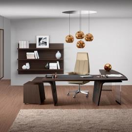01  Chefbüro - Winkelschreibtisch exklusives Design in dunkler Eiche, passender Chefsessel verfügbar - preiswert konfigrieren, Larus