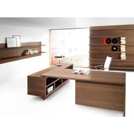 01 Design Schreibtisch Chefzimmer in Nussbaum, preiswert - Lithos