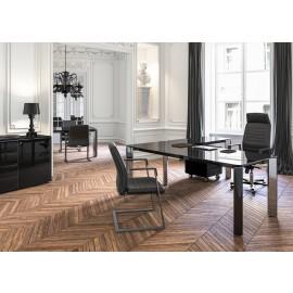 01 Hochglanz Glasschreibtisch in Schwarz, repräsentativ moderne Büroeinrichtung, Winkelschreibtisch, Iulio HG
