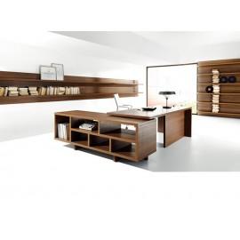 02 Büroschreibtisch mit Servicecontainer offen, modernes Chefzimmer in Nussbaum, Lithos Büromöbel - modular und preiswert einrichten