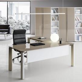 IULIO - 02 Designer Winkeltisch, Chefbüro mit modernem Glasschreibtisch, Direktionsschreibtisch mit Glastischplatte in grau/beige, gestell in Inox, preistwert Manager-Büromöbel zusammenstellen