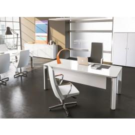 02 weißer Design Glasschreibtisch / hochwertig moderne Chefzimmer Einrichtung / repräsentative Büromöbel, Iulio HG