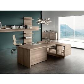 03- 01 moderner Chefschreibtisch preiswert, Design Schreibtisch in Eiche -  Kollektion Lithos