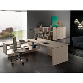 03- 02 Chefschreibtisch zum günstigen Preis, modern designed, zum Schreibtisch passende Büroschränke erhältlich, Ulme Dekor, Kollektion Lithos
