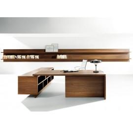 03 Büro Schreibtisch Winkelschreibtisch in Walnuss Natur, moderne und preiswerte Chefzimmer Einrichtung - Lithos