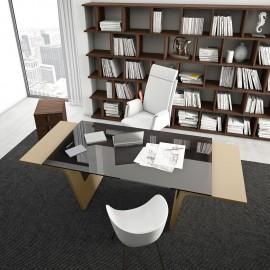 03  Glasschreibtisch, Chefzimmer Schreibtisch, modernes Design, Tischwangen lackiert in Kastanie, Schreibtischplatte Sicherheitsglas getönt, Larus