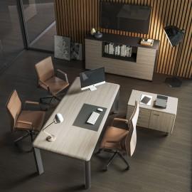 03 hochwertiges Chefbüro, Schreibtisch mit Edelstahl Tischbeinen, Ulme Grau das Sideboard mit Rahmung in Lava - IULIO